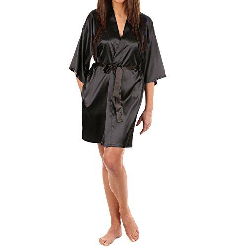 LAPAYA Women's Kimono Robe Knee Length Bridal Lingerie Sleepwear Short Satin Robe, Black, 4-6