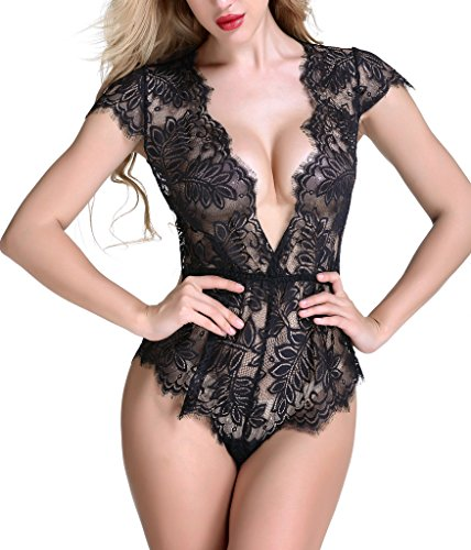 Anyou Sexy Lingerie Lace Teddy features Plunging Eyelash and Snaps Crotch Black Large