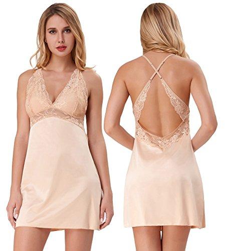 Women Silk Slip V-Neck Mid-thigh Negligee Lingerie Nightgown Beige Size S