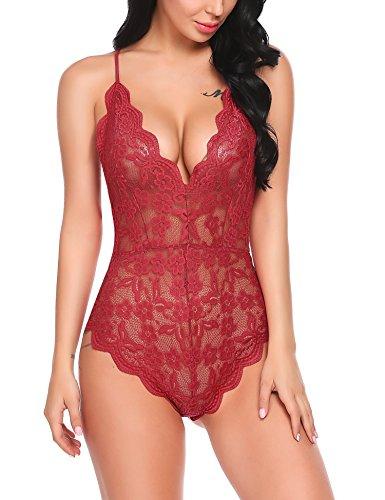 Avidlove Women Teddy Lingerie One Piece Babydoll Bodysuit Romper,Large,Red
