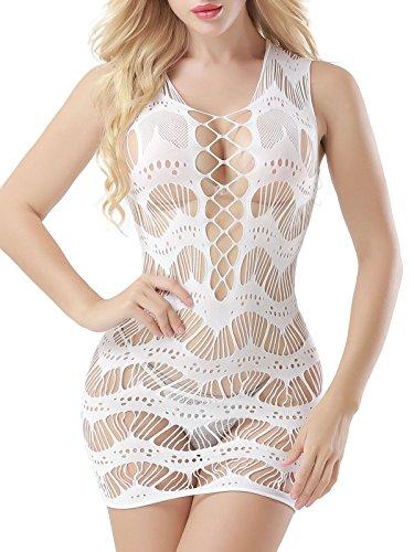FasiCat Women's Mesh Lingerie for Women Fishnet Baby Doll Mini Dress Free Size White Style 7