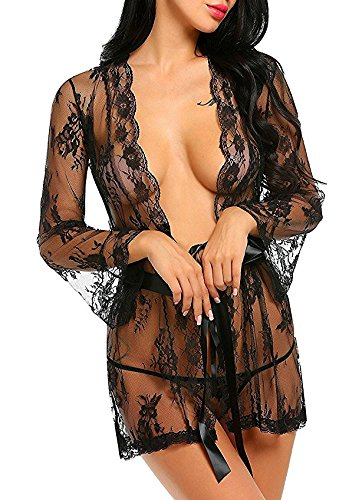 Women's Lace Kimono Sexy Nightgown Transparent Mesh lingerie,Black,Small