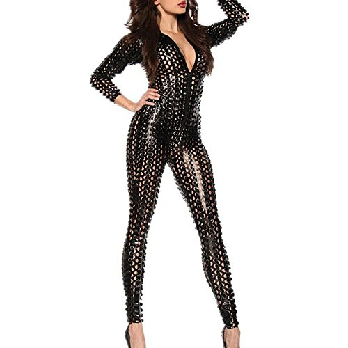 MSsmart (TM) Women's Sexy Hollow Out Catsuit Costumes Leather Zip Up Clubwear Stripper
