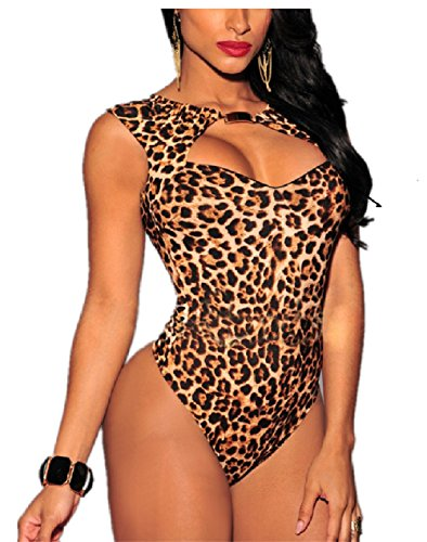 Mrsdressshop Leopard Print Backless Jumpsuit Sliming Sexy Lingerie (m)