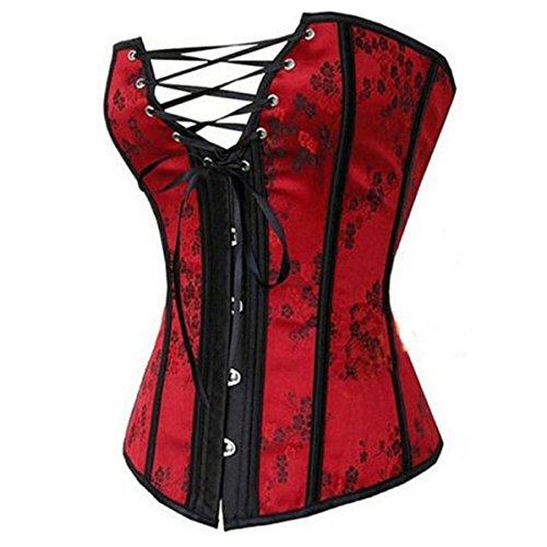 Womens Bustier Renaissance Corset Lingerie Shapewear Sexy Brocade Overbust Top