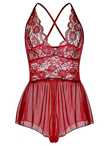Justgoo Women Open Crotch Teddy Babydoll Sexy Lace Lingerie One Piece Jumpsuit
