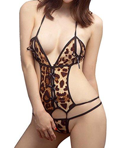 Obazidou Women Halter One Piece Teddy Lingerie Sexy Lace Bodysuit Leopard Catsuit Free size Leopard