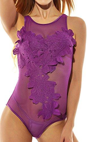 Women's Semi-sheer Jumpsuit lingerie(S,Purple)