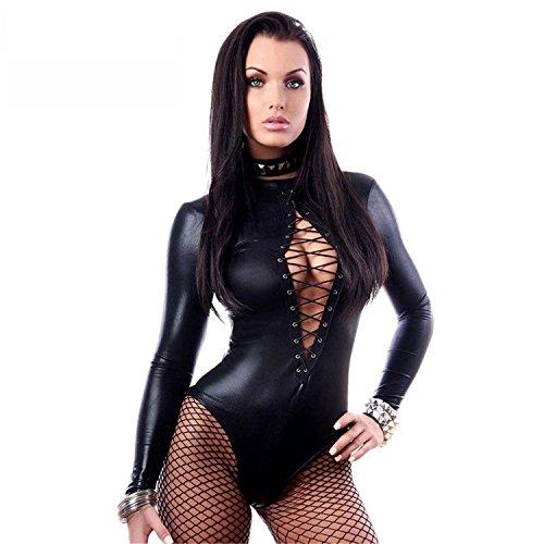 Musamk Black Wet Look Long Sleeve Bodysuit LC3263 Women Black Leather Lingerie Bodysuits Erotic Latex Catsuit Catwomen Costume as showM