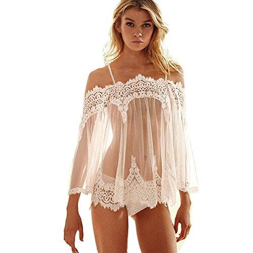 Sexy Lingerie, Fullkang Women Lingerie Babydoll Nightwear Lace Dress+G-string (M)