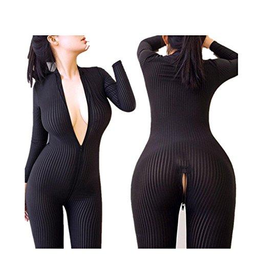 Showking Women Striped Bodysuit Zipper Long Sleeve Open Crotch Lingerie Jumpsuit (Black)