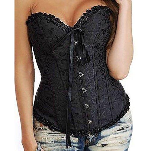 819 – Plus Size Lace Up Ribbon Ties Bustier Bridal Lingerie Corset (8X, Black)