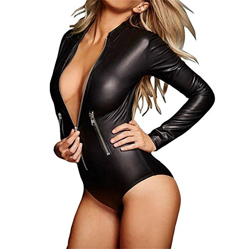 Wonder Pretty Womens Latex Wet look Catsuit Sex Zip Front Bodycon Leather Club Jumpsuit Faux Leather Teddy Lingerie