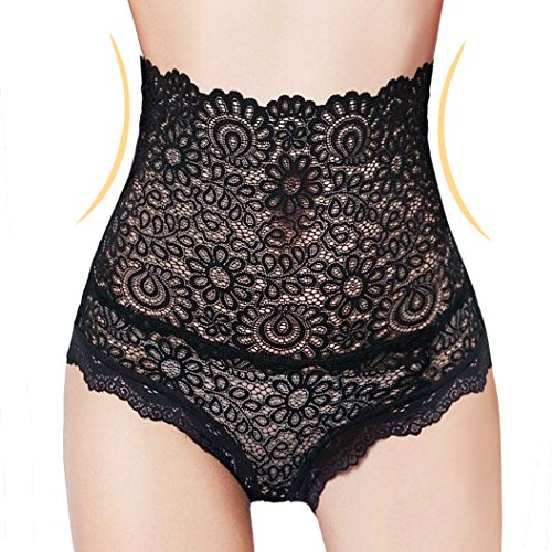 Eve's Temptation Corey High-Waisted Panties Slimming Floral Stretchy Lace Sexy Lingerie Underwear for Women Black Medium